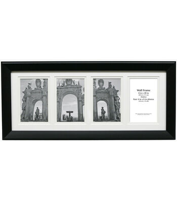 Collage Wall Frame with 4 Openings 8''x20''-Black