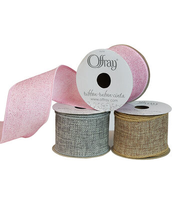 """Offray 2.25""""x9' Sparkle Saddle Natural Burlap Wired Edge Ribbon"""