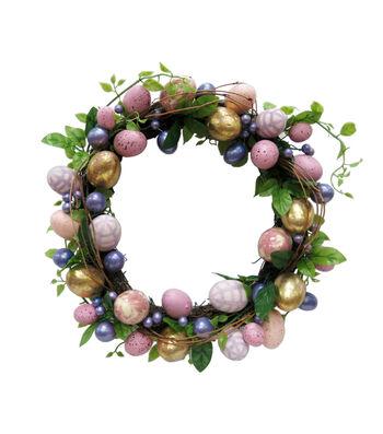 Easter 18''x4'' Egg Wreath-Purple & Gold