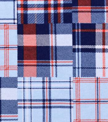 "Nursery Flannel Fabric 42""-Nautical Plaid"