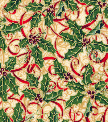"Maker's Holiday Cotton Fabric 44""-Holly and Ribbon"