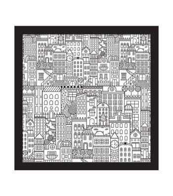 12x12 Color In City Doodle Float Frame-Black