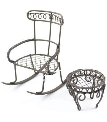 Midwest Design Mini Garden Rocking Chair & Round Table