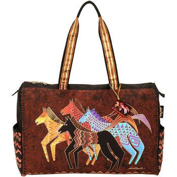 """Laurel Burch Travel Bag Zipper Top 20.5""""x8.25""""x16""""-Native Horses"""