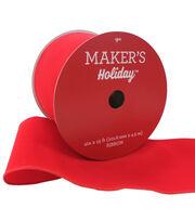 Maker's Holiday Christmas Velvet Ribbon 4''x15'-Red, , hi-res