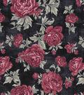 Vintage Cotton Fabric 43\u0027\u0027-Large Floral on Navy