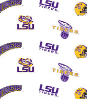 "Louisiana State University Tigers Cotton Fabric 44""-White All Over, , hi-res"