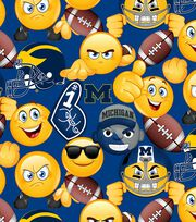 University of Michigan Wolverines Cotton Fabric 43''-Emoji, , hi-res