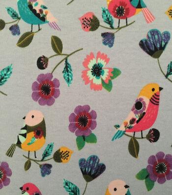 Doodles® Juvenile Apparel Fabric 57''-Printed Parakeets Interlock