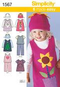 Simplicity Pattern 1567A 1/2-1-2-3--Toddlers Sportswear