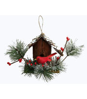 Maker's Holiday Woodland Lodge Focal Cardinal Birdhouse Ornament, , hi-res