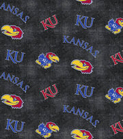 "University of Kansas Jayhawks Flannel Fabric 42""-Distressed Logo, , hi-res"
