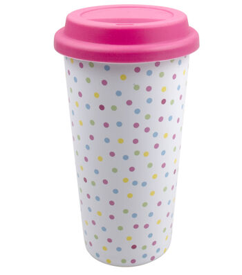 Easter Ceramic Travel Mug with Silicone Lid-Multi Polka Dots