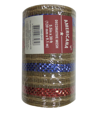 "Americana Decorative Mesh Ribbon 5.5""x30'-Natural, Red & Blue Stripes"