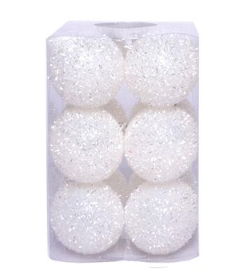 Maker's Holiday Christmas 12 pk Tinsel Ball Ornaments-White