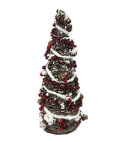 Blooming Holiday Christmas 20'' Rattan Tree Cone with Berry & Pinecone, , hi-res