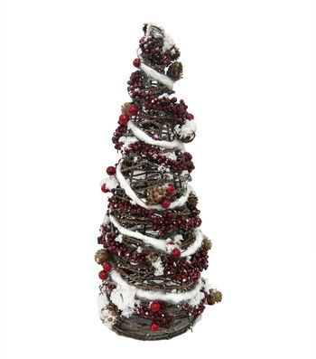 Blooming Holiday Christmas 20'' Rattan Tree Cone with Berry & Pinecone