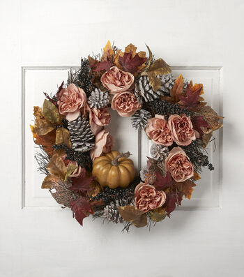Fall into Color 22'' Rose, Berry & Pinecone Wreath