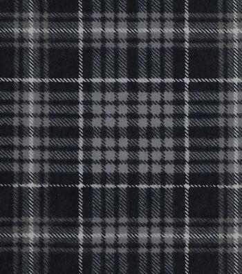 Snuggle Flannel Fabric 42''-Black & Gray Plaid