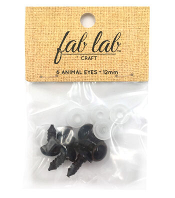 Shank Back Animal Eyes 12mm 6/Pkg-Brown