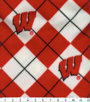 "University of Wisconsin Badgers Fleece Fabric 58""-Argyle, , hi-res"