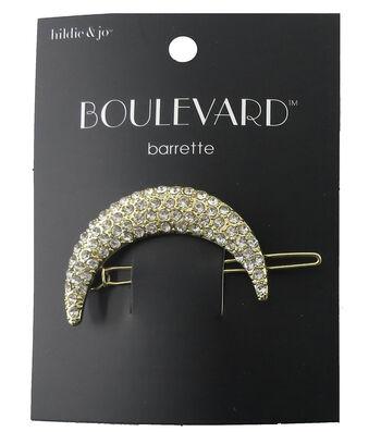 hildie & jo™ Boulevard 1''x2.25'' Moon Gold Barrette-Clear Crystal