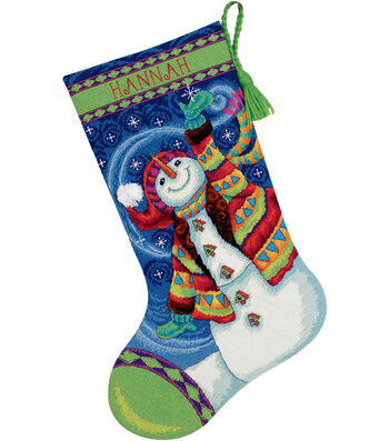 "Happy Snowman Stocking Needlepoint Kit-16"" Long Stitched In Wool & Thread"