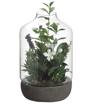 Bloom Room Luxe 13'' Stephanotis, Lavender & Sage Terrarium-Green