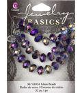 Jewelry Basics  32pc Glass 10mm Rondelle Gold/Purple Mirror Beads