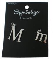 hildie & jo™ 2 Pack Letter 'M' Upper & Lower Case Silver Pendants, , hi-res