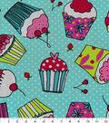 Novelty Cotton Fabric 43\u0027\u0027-Cupcake on Dots