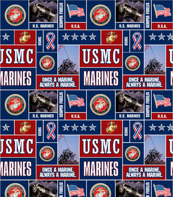 "United States Marines Fleece Fabric 58""-Allover"