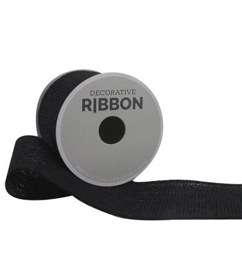 "Decorative Ribbon 2.5"" Solid Burlap Ribbon-Black"