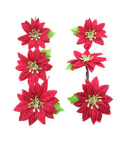 Blooming Holiday Christmas 6 pk 3'' Poinsettia Blossoms-Red, , hi-res