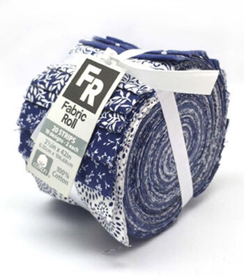 Jelly Roll Cotton Fabric 20 Strips 2.5''-Assorted Navy & White Patterns
