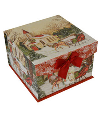 Maker's Holiday Large Mini Fliptop Box-Snow Church