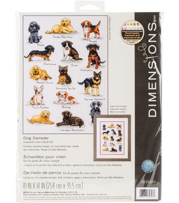 """Dog Sampler Counted Cross Stitch Kit-10""""X14"""" 14 Count"""