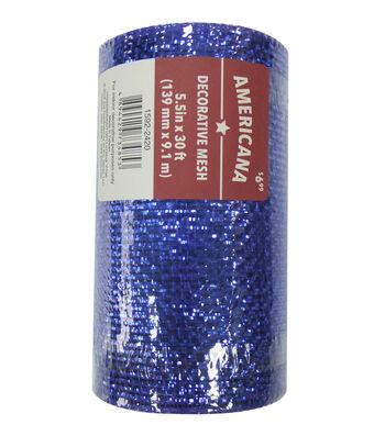 "Americana Decorative Mesh Ribbon 5.5""x30'-Blue Metallic"