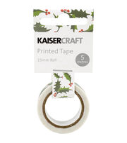Kaisercraft Printed Tape .5''x16.5'-Holly, , hi-res