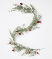Blooming Holiday Christmas 66'' Cypress & Bell Garland-Red, , hi-res