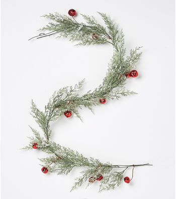 Blooming Holiday Christmas 66'' Cypress & Bell Garland-Red