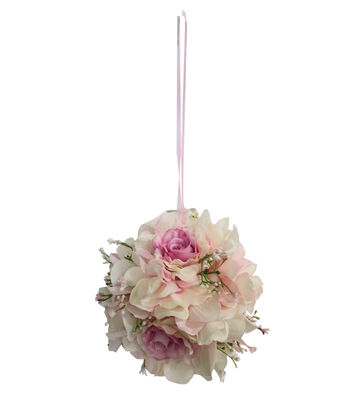 Fresh Picked Spring Hydrangea, Rose & Baby's Breath Kissing Ball-Pink