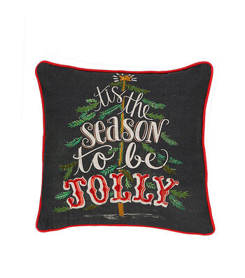 3R Studios Square Embroidered Cotton Pillow-Tis The Season To Be Jolly