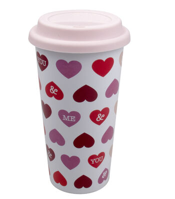 Valentine's Day Ceramic Travel Mug with Silicone Lid-Hearts