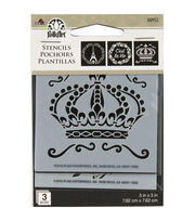 FolkArt 3 pk 3''x3'' Mini Stencils-French Crown, , hi-res
