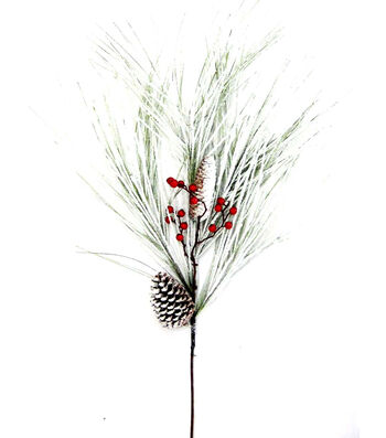 Blooming Holiday Christmas 39'' Extra Large Flocked Fan Pine Spray