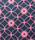 Blizzard Fleece Fabric - Navy Pink Floral Links