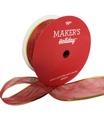 Maker's Holiday Christmas Value Ribbon 2.5''x100'-Green Pattern on Red