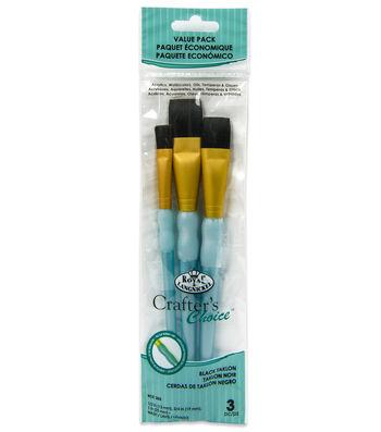 Royal & Langnickel® Wash Brush Set 3pk-Black Taklon