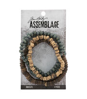 Tim Holtz® Assemblage 4 Pack 7.5'' Bracelets-Natural Wooden Beads, , hi-res